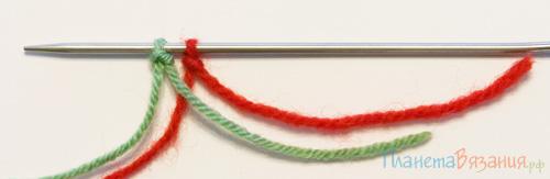 Итальянский набор петель. Закрепление нити в начале и конце ряда