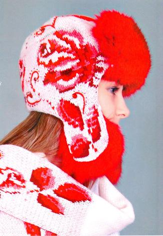 Вязаная шапка-ушанка в русском стиле