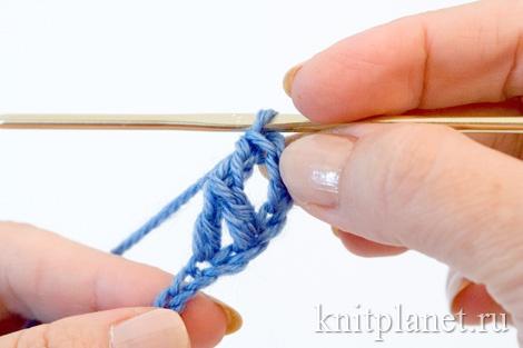 Скрещенный столбик с одним накидом, техника вязания, этап 7