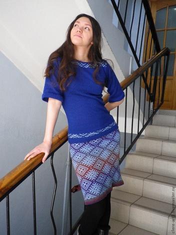 Светлана Турова. Вязаная юбочка и кофта в этно стиле.