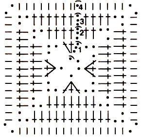Квадрат для тапочек крючком, схема