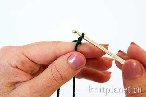 Скользящая петля - вязание крючком, способ 1, этап 3