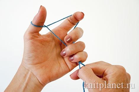 Уроки вязания спицами для начинающих. Набор начального ряда петель. Этап 3