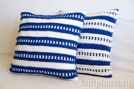 Как связать чехол на подушку спицами