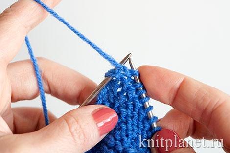 Вязание пинеток двумя спицами для начинающих, этап 4.