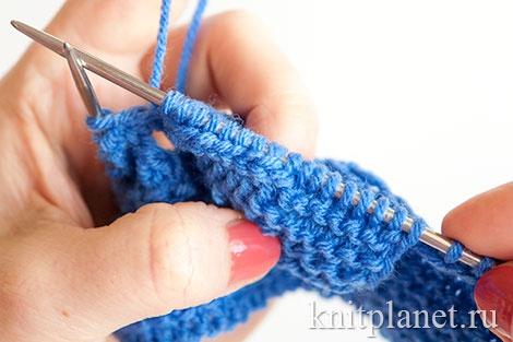 Вязание пинеток двумя спицами для начинающих, этап 6.