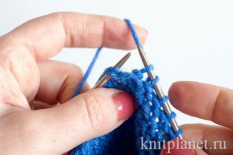 Вязание пинеток двумя спицами для начинающих, этап 17.