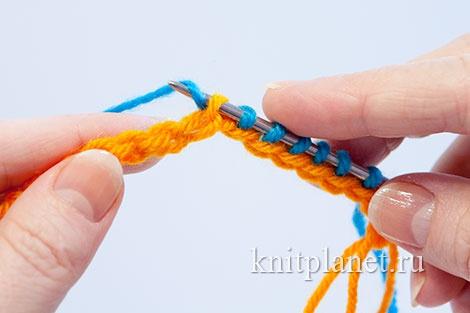 Временный набор петель при вязании спицами