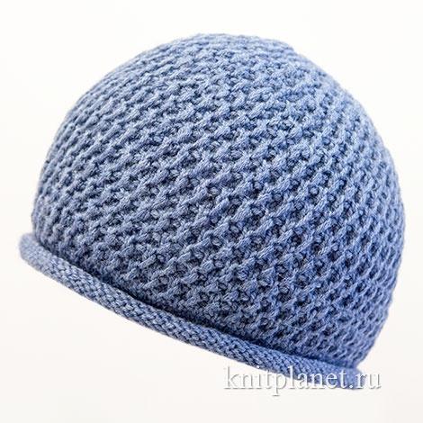 Вязание мужской шапки спицами