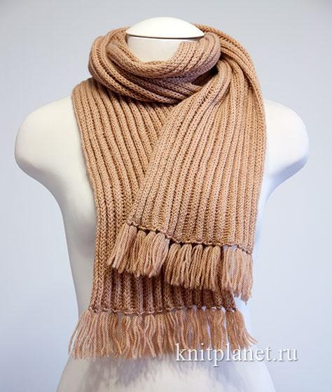 планета вязания шарф спицами узором выпуклая резинка мастер класс