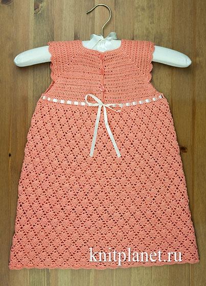 Летнее детское платье крючком с кокеткой реглан