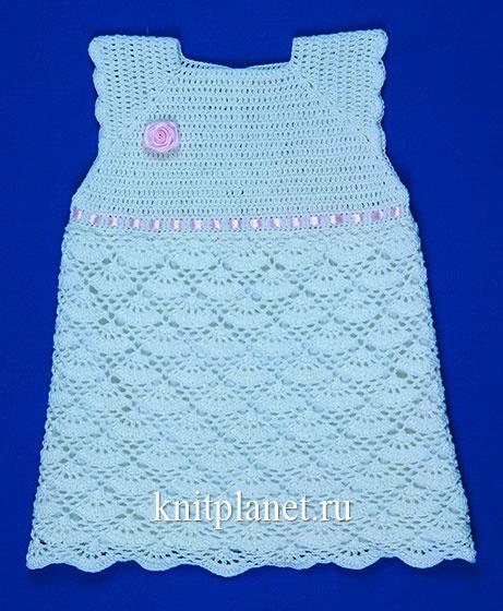 Летнее платье крючком для девочки 1,5 - 2 года. Мастер-класс по вязанию бесплатно
