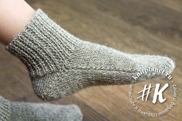 планета вязания носки на 2 спицах без шва подробный фото и видео