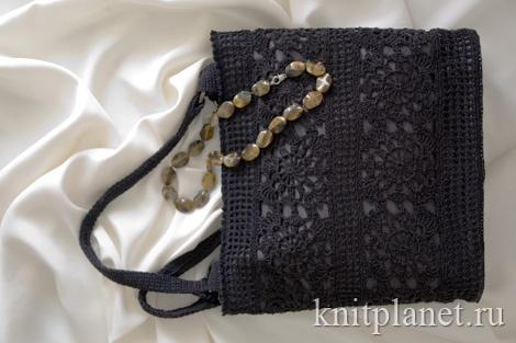 Черная сумка, вязанная крючком