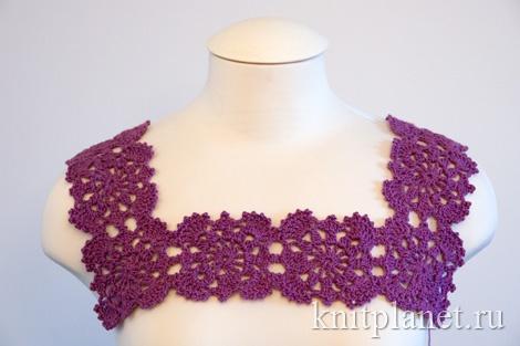 Вязаное платье крючком, кокетка