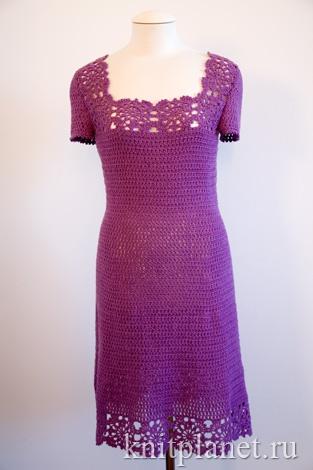 Платье крючком. вид спереди