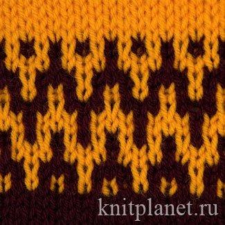 планета вязания двухцветный узор 6 схема вязания узора спицами