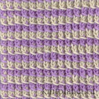Двухцветный узор, образованный перекинутым накидом
