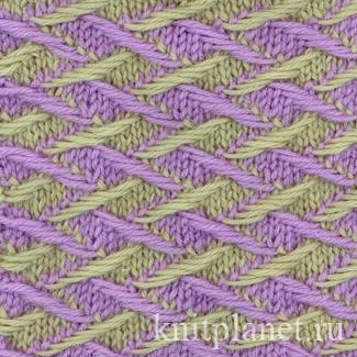 Двухцветный узор (ложный жаккард) с четырьмя вытянутыми петлями