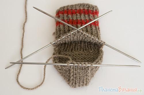 Вязание пятки носка - центральная часть