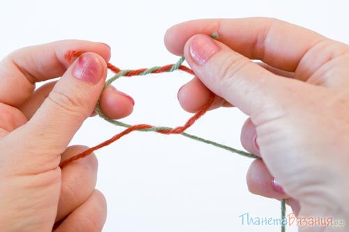 Связывание концов пряжи узлом