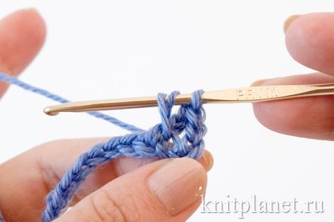 Техника вязания крючком. Перекрещенный столбик.