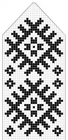 Схема варежки с узором Шонди