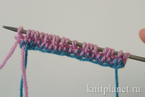 Трубчатый набор начального ряда петель спицами