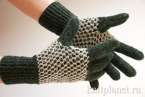 Перчатки узором Соты