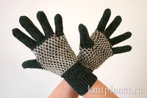 Перчатки с узором Соты общий вид