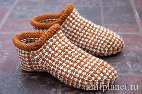 Планета Вязания | Носки-тапочки ленивым жаккардом. Мастер-класс по