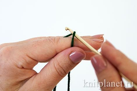 Скользящая петля - вязание крючком, способ 1, этап 2