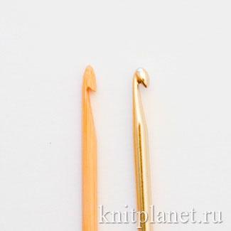 Головка крючка для вязания: гладкая металлическая и более острая из бамбука