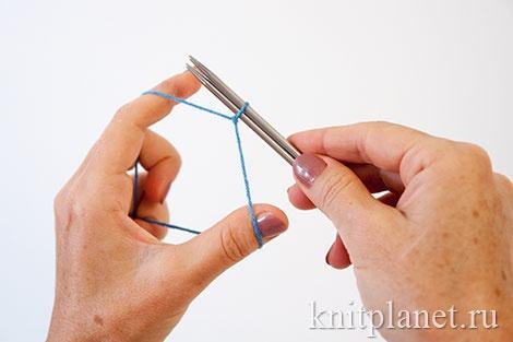 Уроки вязания спицами для начинающих. Набор начального ряда петель. Этап 6