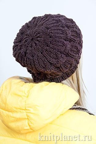 Вязать шапку узор коса с тенью