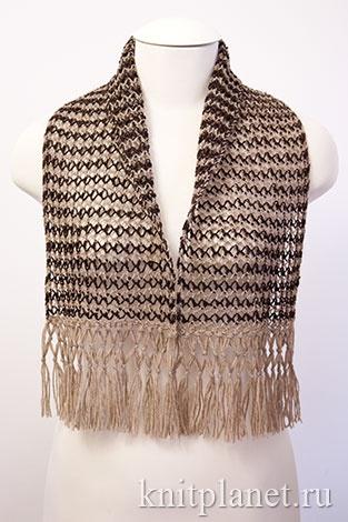 Ажурный шарф с бахромой