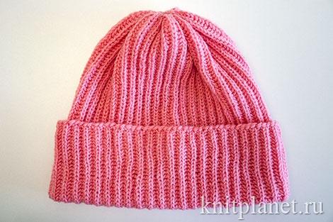 Детская шапочка с отворотом для девочек и мальчиков.
