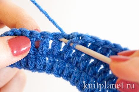 Вязание столбиков крючком в ножку столбика