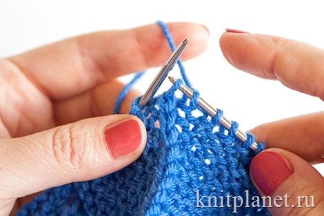 Вязание пинеток двумя спицами для начинающих, этап 15.