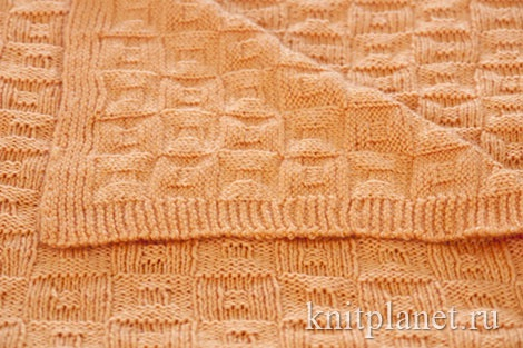 Образец вязания пледа на спицах