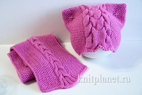 Шапочка-кошка и шарф для девочки спицами. Размер 51-53