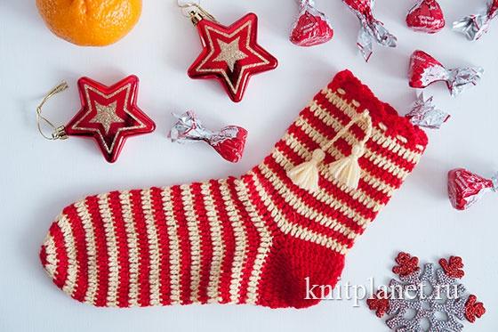 Схема вязания Рождественского (Новогоднего) носка бесплатно.