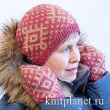 Женская шапка спицами Северная звезда