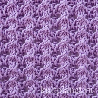 Ажурный узор № 1 - Ажурный узор спицами. Схема вязания узора. Запись узора.
