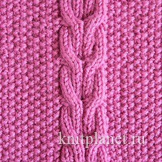 Узоры из кос и жгутов для шарфа